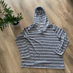LOFT/ Lou & Grey Striped V-Neck Sweater with Hood
